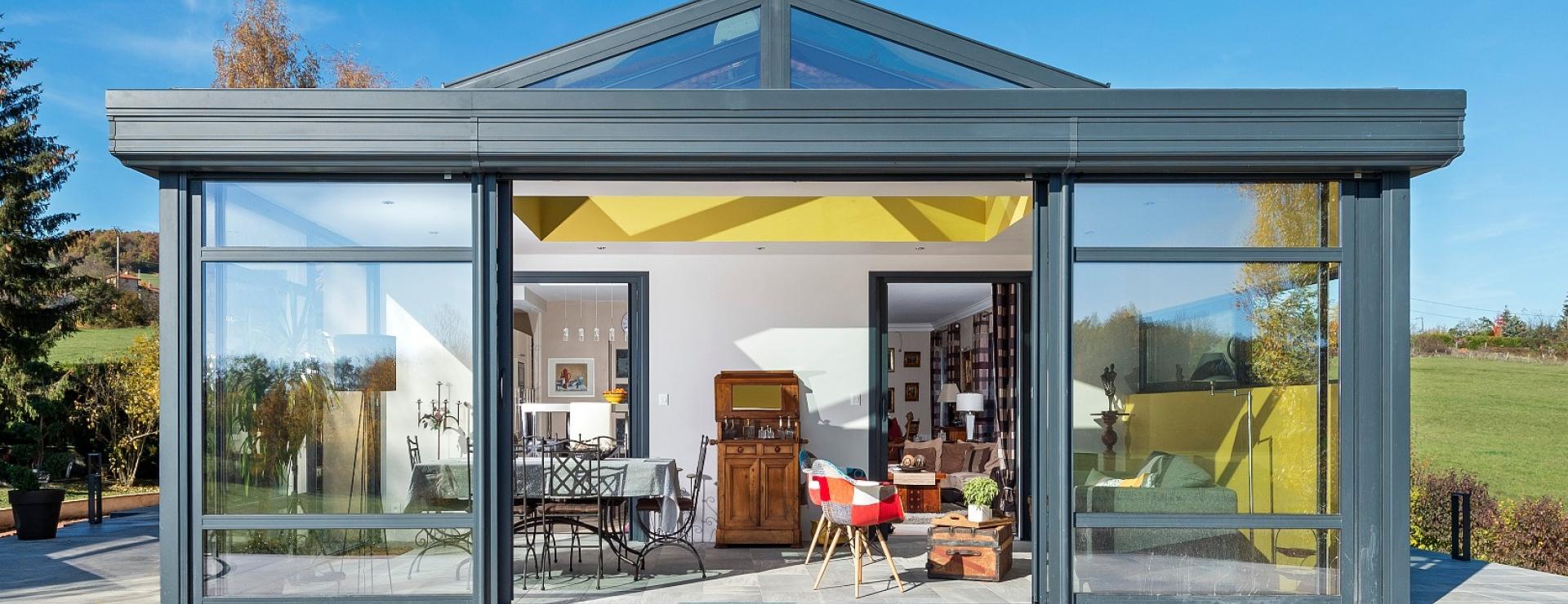 véranda Villefranche-sur-Saône et 01 Ain - toiture plate